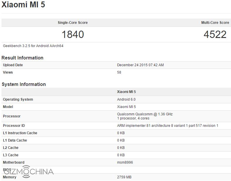 Výsledok Xiaomi Mi5 z 24. decembra 2015