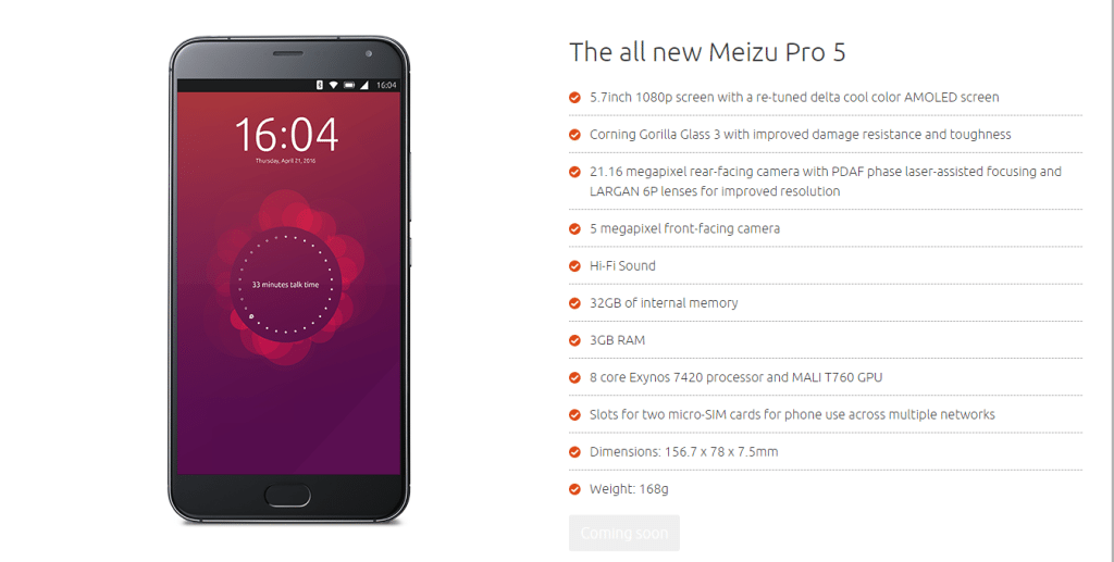Ubuntu Meizu Pro 5 specifications