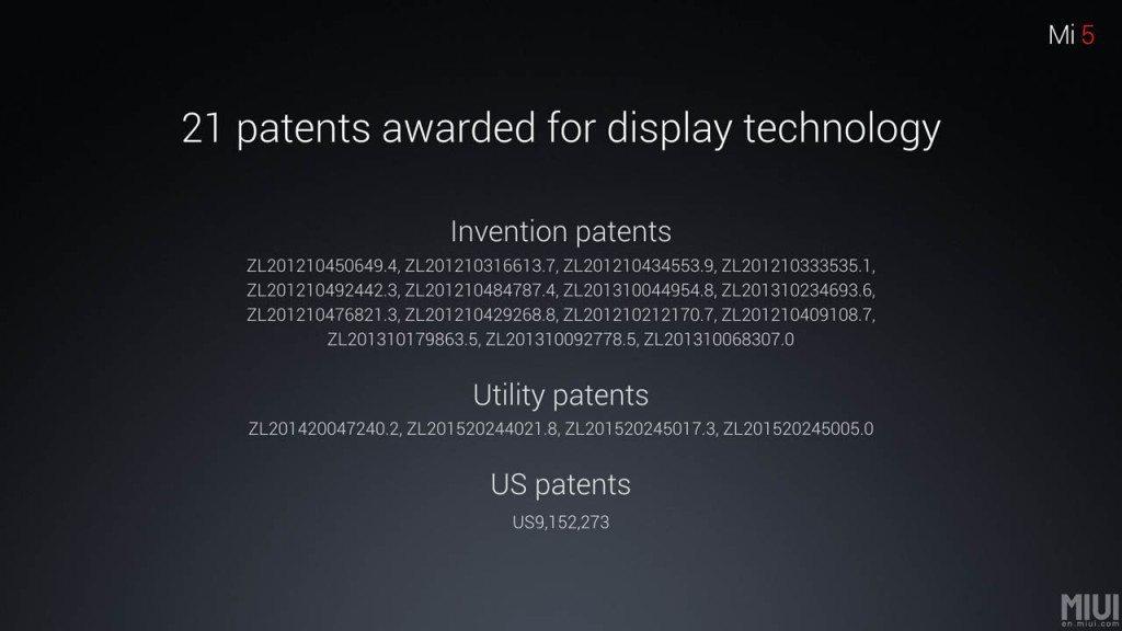 xiaomi mi5 patents