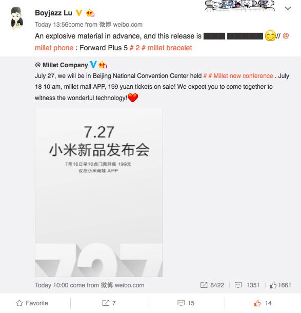 xiaomi konferencia 27.7. weibo