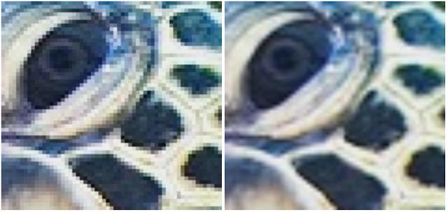 Vľavo originál, vpravo RAISR. Na tomto príklade si môžeme všimnúť, že rohy objektov sú síce menej pixleované, no zároveň stále rozotrené