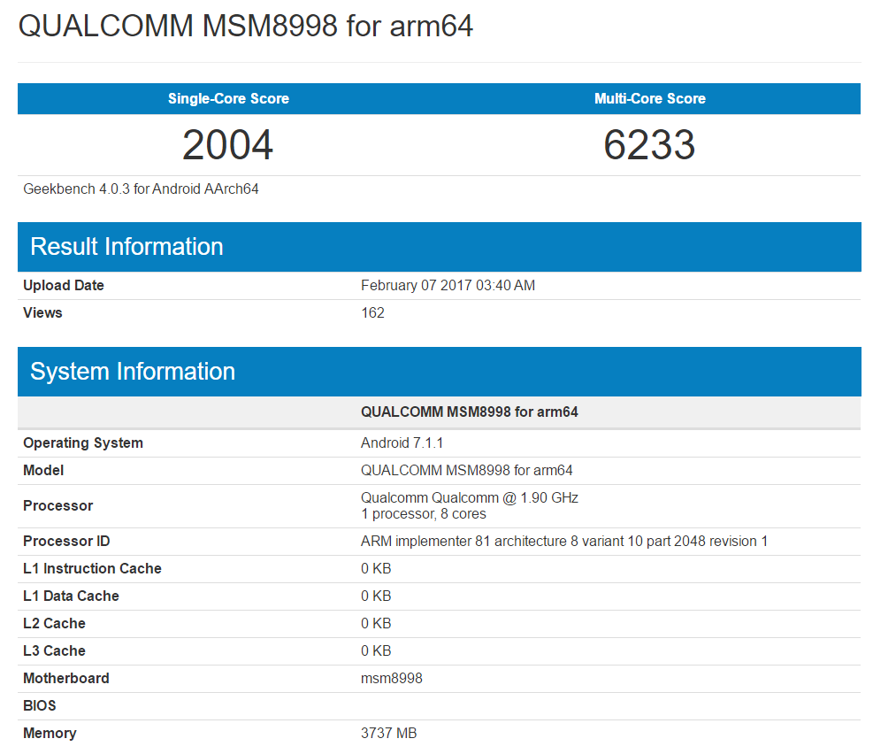 Snapdragon 835 Geekbench