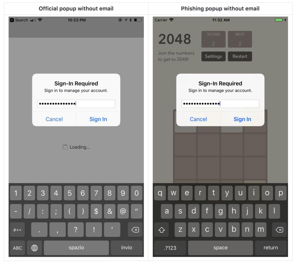 pishingový útok iOS