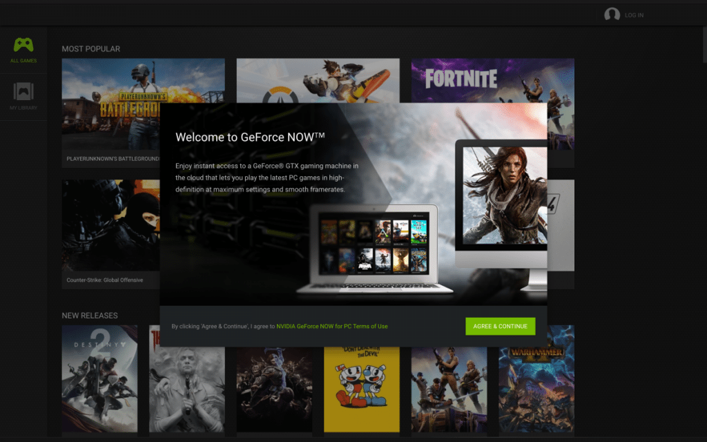 GeForce Now GUI