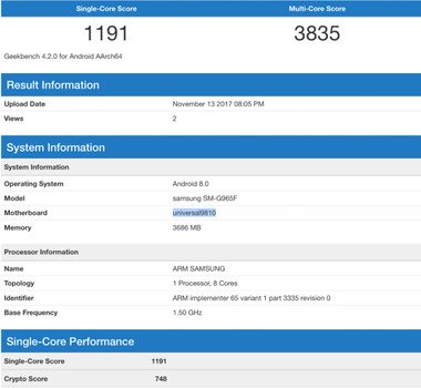 Galaxy S9+ Geekbench