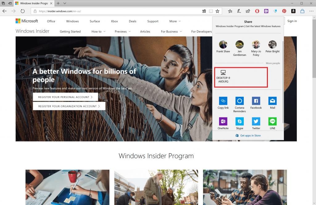 Windows 10 aktualizácia Near Share