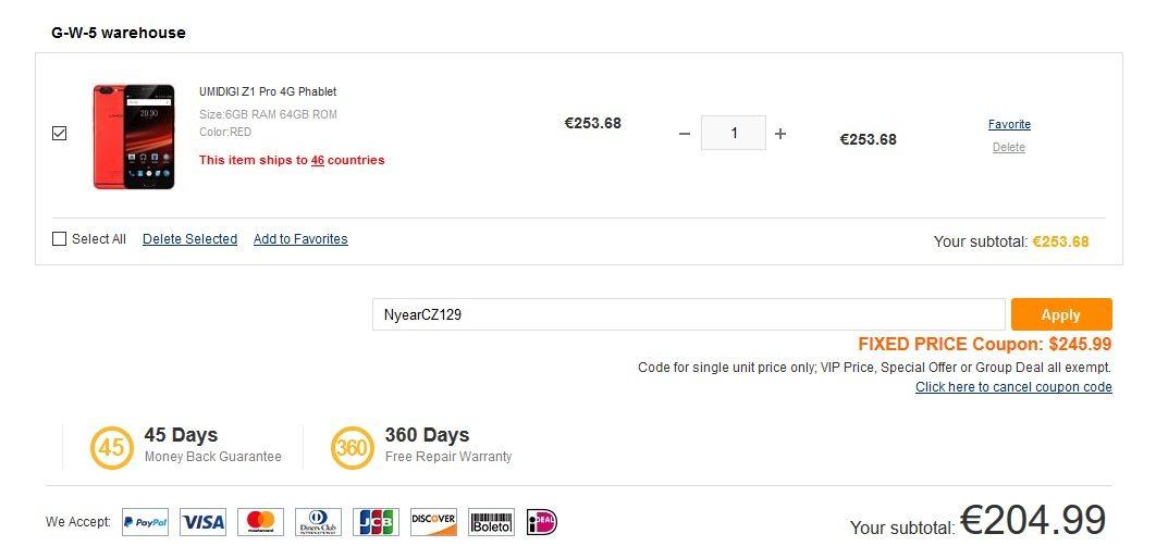 UMIDIGI Z1 Pro fontech shop kupon