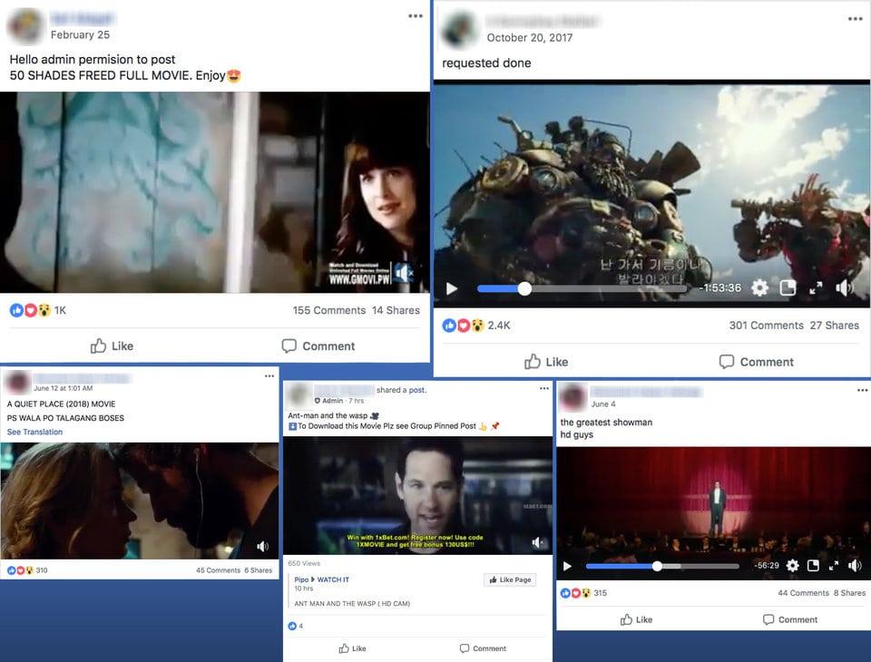 pirátske filmy na facebooku
