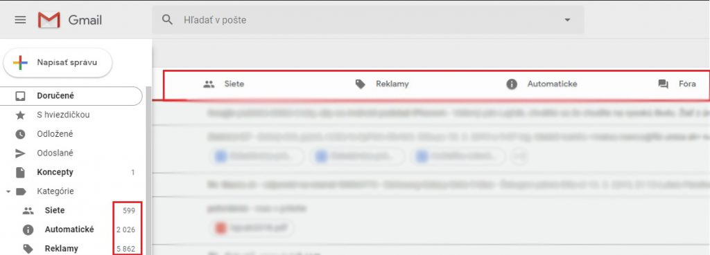 filtrovanie správ na gmaily
