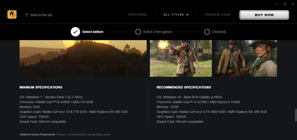 Systémové požiadavky Red Dead Redemption 2