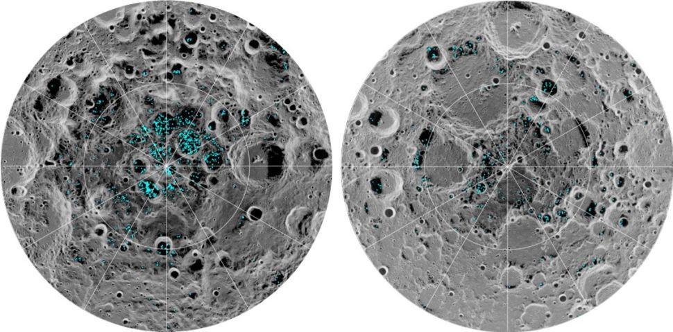 Voda na južnom a severnom póle Mesiaca (zdroj: NASA)